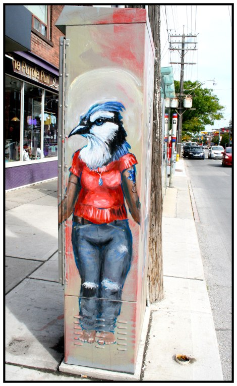 Billions Pass Through This Landscape - Character. Located: Corner of Jones Ave & Queen St. E. Artist: Candace O. Bell, Mad Rabbit Art. Contact: candace@madrabbitart.com Copyright 2016, Public Art of Toronto.