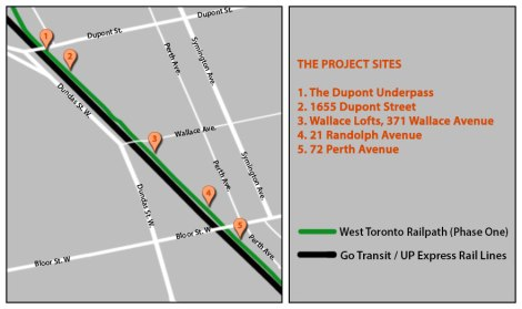 West Toronto Railpath, Project Sites (not to scale)